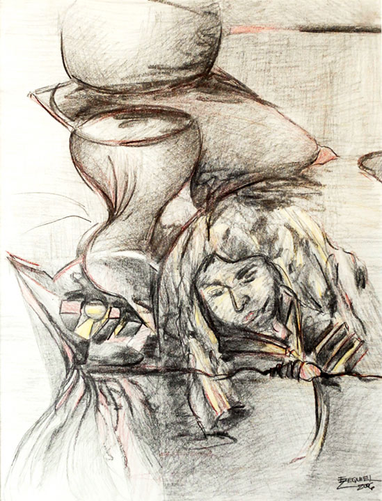Cuando rompió la vida II. 2006, Charcoal, colored pencil on paper, 12 ½ x 16