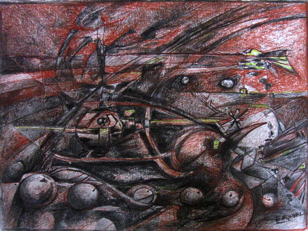War VII. 2011. Pencil, charcoal, pastel on paper, 18 x 24