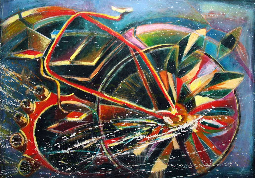 Bicycle transport of peace. 2006. Acrylic on canvas, 21 x 31 in.
